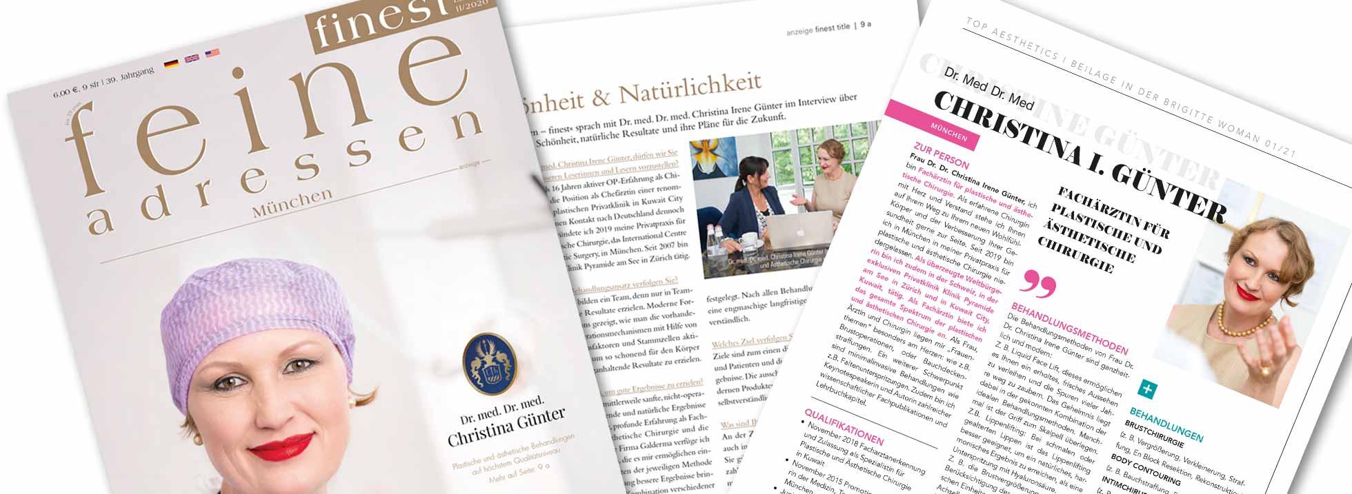 Aus der Presse ... Plastische Chirurgin in München, Dr. Med. Christina Günter